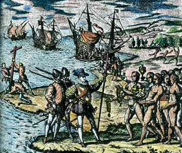 Tainos welcome Columbus into New World