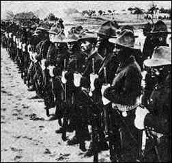 Spanish soldiers at attention