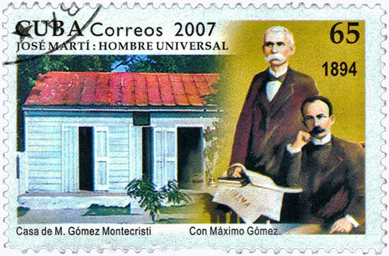 Marti and Gomez at Montecristi stamp